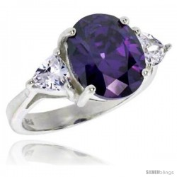 Sterling Silver 5.0 Carat Size Oval Cut Amethyst Colored CZ Bridal Ring