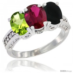 14K White Gold Natural Peridot, Ruby & Black Onyx Ring 3-Stone Oval 7x5 mm Diamond Accent