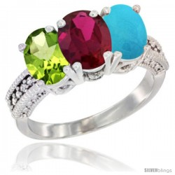 14K White Gold Natural Peridot, Ruby & Turquoise Ring 3-Stone Oval 7x5 mm Diamond Accent