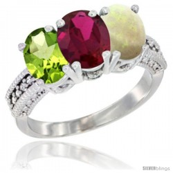 14K White Gold Natural Peridot, Ruby & Opal Ring 3-Stone Oval 7x5 mm Diamond Accent