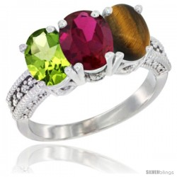 14K White Gold Natural Peridot, Ruby & Tiger Eye Ring 3-Stone Oval 7x5 mm Diamond Accent