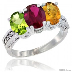 14K White Gold Natural Peridot, Ruby & Whisky Quartz Ring 3-Stone Oval 7x5 mm Diamond Accent