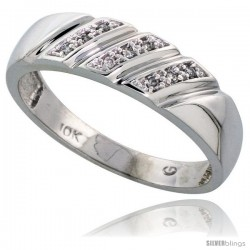 10k White Gold Mens Diamond Wedding Band Ring 0.05 cttw Brilliant Cut, 1/4 in wide