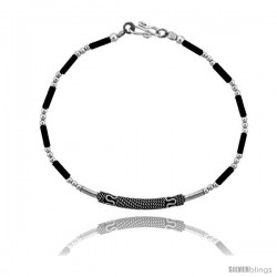 Sterling Silver Black Beaded Bali Bracelet
