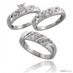 10k White Gold Trio Engagement Wedding Rings Set for Him & Her 3-piece 6 mm & 5 mm wide 0.15 cttw Brilliant Cut