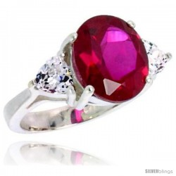 Sterling Silver 5.0 Carat Size Oval Cut Garnet Colored CZ Bridal Ring