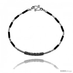 Sterling Silver Black Beaded Bali Bracelet -Style Fb26