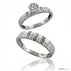 10k White Gold Diamond Engagement Rings 2-Piece Set for Men and Women 0.11 cttw Brilliant Cut, 3.5mm & 5mm wide