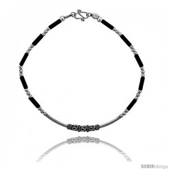 Sterling Silver Black Beaded Bali Bracelet -Style Fb27