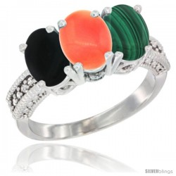 10K White Gold Natural Black Onyx, Coral & Malachite Ring 3-Stone Oval 7x5 mm Diamond Accent