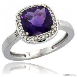 Sterling Silver Diamond Natural Amethyst Ring 2.08 ct Checkerboard Cushion 8mm Stone 1/2.08 in wide