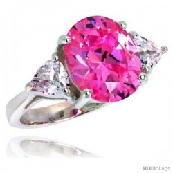 Sterling Silver 5.0 Carat Size Oval Cut Pink Tourmaline Colored CZ Bridal Ring