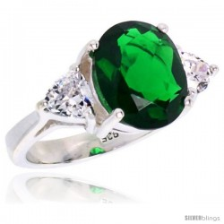 Sterling Silver 5.0 Carat Size Oval Cut Emerald Colored CZ Bridal Ring