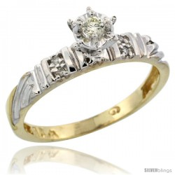 10k Yellow Gold Diamond Engagement Ring, 1/8inch wide -Style 10y117er
