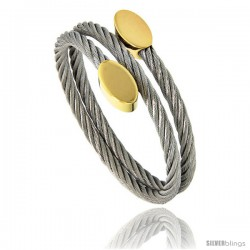 Stainless Steel Cable Golf Bracelet Oval Gold-Tone Ends, 7 in