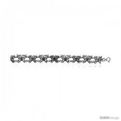 Sterling Silver Oxidized Filigree Butterfly Bracelet -Style Fb19