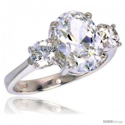 Sterling Silver 4.0 Carat Size Oval Cut Cubic Zirconia Bridal Ring