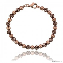 Sterling Silver Corrugated Filigree Bead Bracelet Rose Gold Finish, 7 in