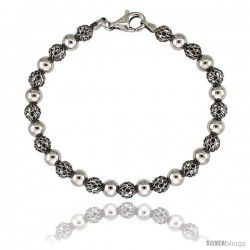 Sterling Silver Polished Filigree Bead Bracelet White Gold Finish, 7 in