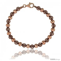 Sterling Silver Polished Filigree Bead Bracelet Rose Gold Finish, 7 in
