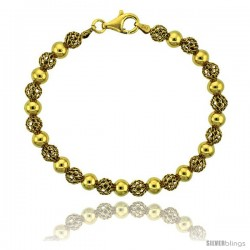 Sterling Silver Polished Filigree Bead Bracelet Gold Finish, 7 in