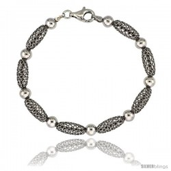 Sterling Silver Oval Filigree Bead Bracelet White Gold Finish, 7 in