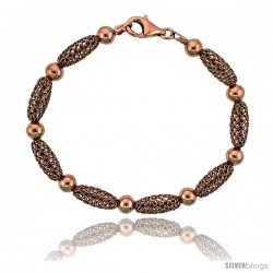 Sterling Silver Oval Filigree Bead Bracelet Rose Gold Finish, 7 in