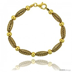 Sterling Silver Oval Filigree Bead Bracelet Gold Finish, 7 in