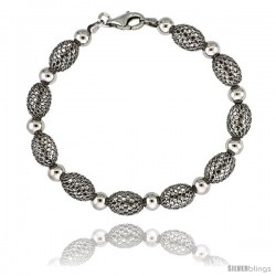 Sterling Silver Oval Filigree Bead Bracelet White Gold Finish, 7 in -Style Fbb104h