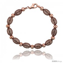 Sterling Silver Oval Filigree Bead Bracelet Rose Gold Finish, 7 in -Style Fbb104r
