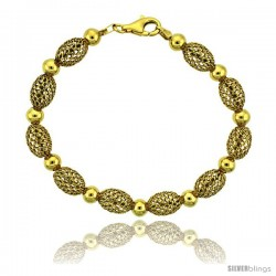 Sterling Silver Oval Filigree Bead Bracelet Gold Finish, 7 in -Style Fbb104y
