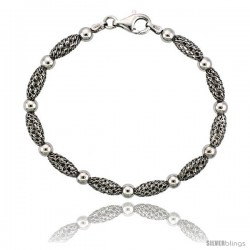 Sterling Silver Corrugated Filigree Bead Bracelet White Gold Finish, 7 in -Style Fbb105h