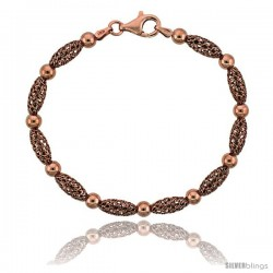 Sterling Silver Corrugated Filigree Bead Bracelet Rose Gold Finish, 7 in -Style Fbb105r