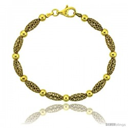 Sterling Silver Corrugated Filigree Bead Bracelet Gold Finish, 7 in -Style Fbb105y