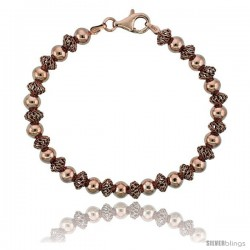 Sterling Silver Oval Filigree Bead Bracelet Rose Gold Finish, 7 in -Style Fbb106r