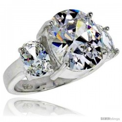 Sterling Silver 5.0 Carat Size Oval Cut Cubic Zirconia Bridal Ring