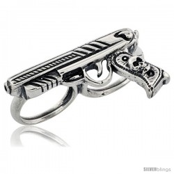 Sterling Silver Two Finger Pistol Ring, 1/4 in wide