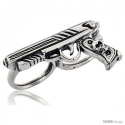 Sterling Silver Two Finger Pistol Ring, 1/4 in wide