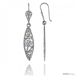 "Sterling Silver 1 7/8"" (47 mm) tall Marquise-shaped Filigree Dangle Earrings"