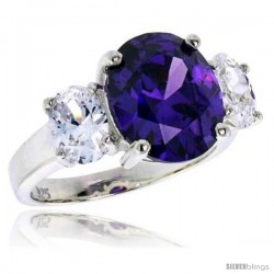 Sterling Silver 5.0 Carat Size Oval Cut Amethyst Colored CZ Bridal Ring -Style Rcz397