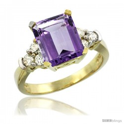 14k Yellow Gold Ladies Natural Amethyst Ring Emerald-shape 9x7 Stone Diamond Accent