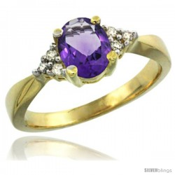 14k Yellow Gold Ladies Natural Amethyst Ring oval 7x5 Stone Diamond Accent -Style Cy401168