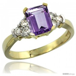 14k Yellow Gold Ladies Natural Amethyst Ring Emerald-shape 7x5 Stone Diamond Accent