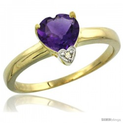 14K Yellow Gold Natural Amethyst Heart-shape 7x7 Stone Diamond Accent