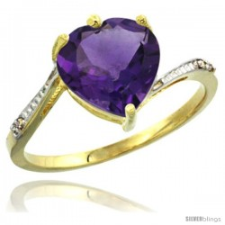 14k Yellow Gold Ladies Natural Amethyst Ring Heart-shape 9x9 Stone Diamond Accent
