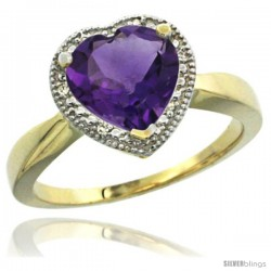 14k Yellow Gold Ladies Natural Amethyst Ring Heart-shape 8x8 Stone Diamond Accent