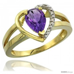 14k Yellow Gold Ladies Natural Amethyst Ring Heart-shape 5 mm Stone Diamond Accent
