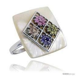 Mother of Pearl Square Ring in Solid Sterling Silver, Accented with Tiny High Quality Citrine, Pink Tourmaline, Amethyst