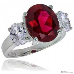 Sterling Silver 5.0 Carat Size Oval Cut Garnet Colored CZ Bridal Ring -Style Rcz398