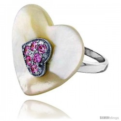 Heart-shaped Mother of Pearl Ring in Solid Sterling Silver, Accented with Tiny High Quality Pink Tourmaline CZ's, 7/8 (22 mm)